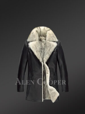 Genuine Lambskin winter Coat for style-conscious men in black view