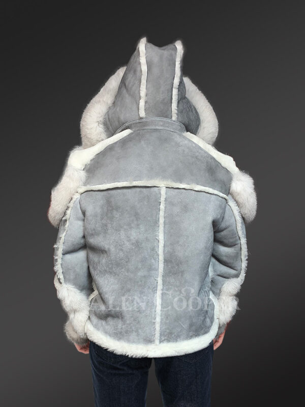 Grey shearling jackets with fox fur collar and hood for stylish men new Back view