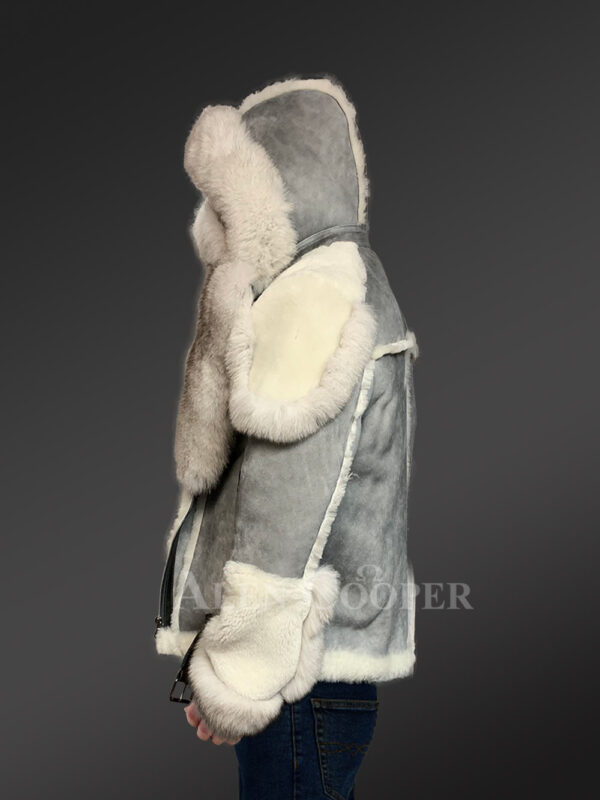 Grey shearling jackets with fox fur collar and hood for stylish men new Side views