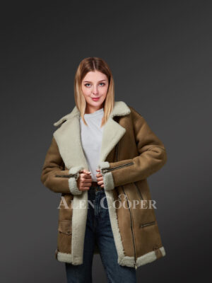 Ladies' brown shearling coat to redefine fashion trends