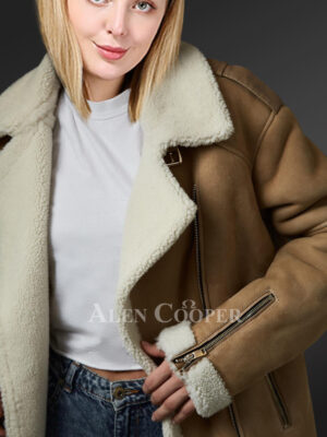 Ladies brown shearling coat to redefine fashion trends