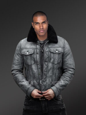 Mens Shearling coat in black redefining elegance and appeal