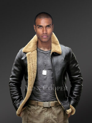Motorcycle shearling jacket in black for stylish men! new