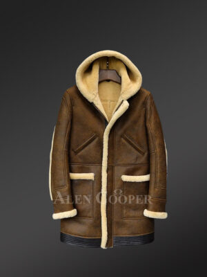 Plush Original shearling winter coat in coffee for stylish men
