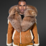 Plush shearlling Coat with hood and collar redefining masculinity