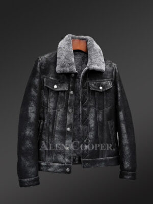 Shearling jacket in denim for men with striking collar to redefine charm