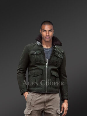 Stylish black shearling jacket for fashionable mens with striking collar