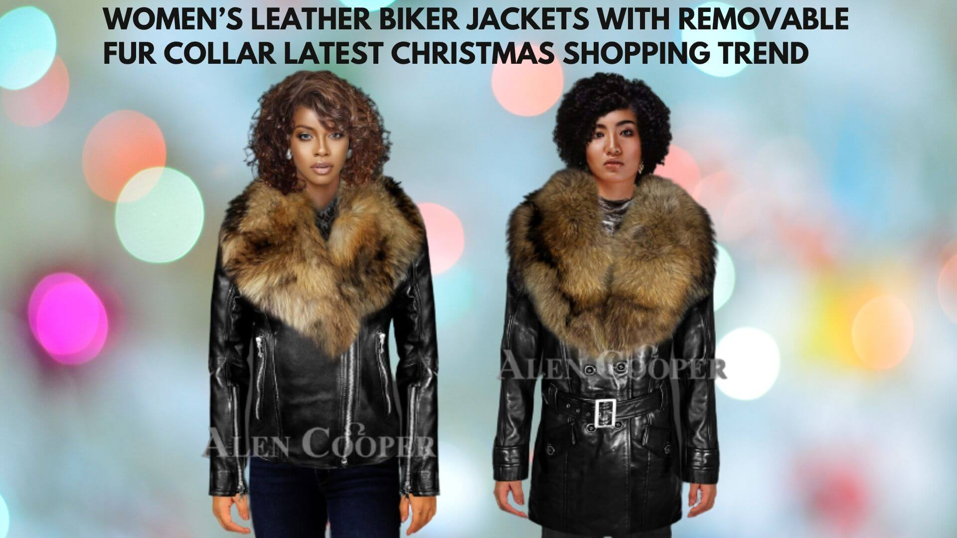 WOMENS LEATHER BIKER JACKETS WITH REMOVABLE FUR COLLAR LATEST CHRISTMAS SHOPPING TREND
