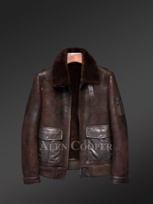 Authentic shearling coats in red-brown hue for stylish men s