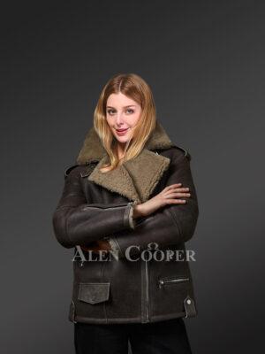 Genuine Toscana shearling coats in Coffee for graceful women