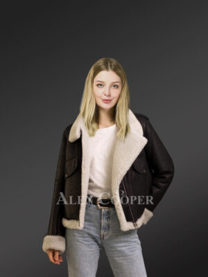 Genuine Toscana shearling jackets in black for elegant ladies