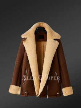 Genuine shearling jackets in burgundy for women of substance