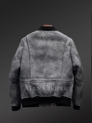 Genuine shearling jackets in grey for fashion-conscious men back view