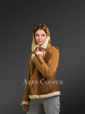 Tasteful and chic authentic shearling jackets for women