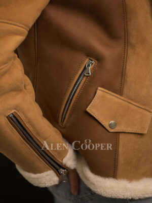 Tasteful and chic authentic shearling jackets for women part view