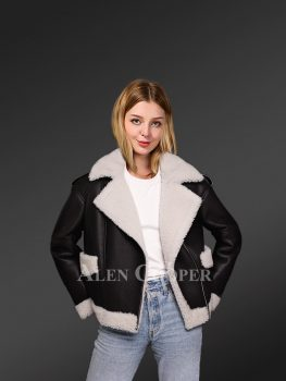 Womens black Toscana shearling coat for more glamorous you