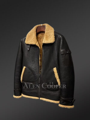 Authentic shearling jackets for mens with striking collar