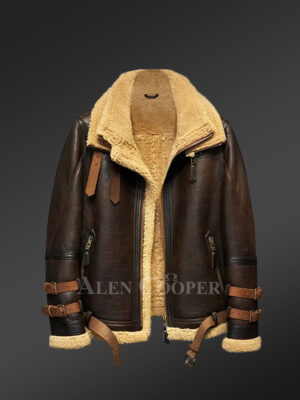 Authentic shearling jackets in black radiating manly charm
