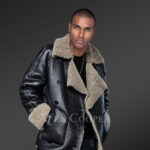 Genuine shearling coats in black to redefine winter dressing trends sideview