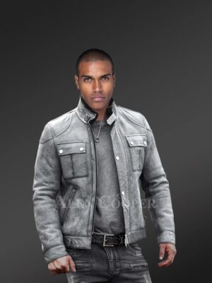 Genuine shearling coats in grey only for trendy men