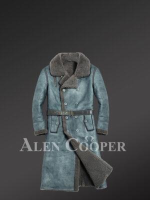 Genuine shearling denim long coats for men this winter