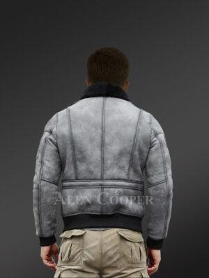 Genuine shearling jackets in grey for tasteful men back view
