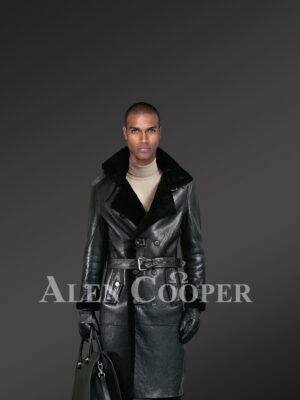Men's Authentic Shearling Long Coat In Black For Greater Charm