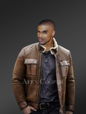Men's genuine shearling coats in brown to redefine fashion trends