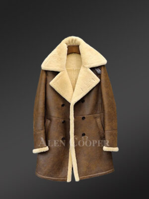 Men's genuine shearling jackets with striking collar & frontline