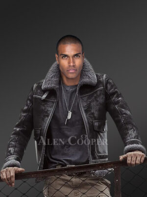 Men's original shearling coats in black for style and sophistication
