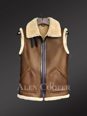 Sleeveless brown shearling jackets to boost manly charm this winter!
