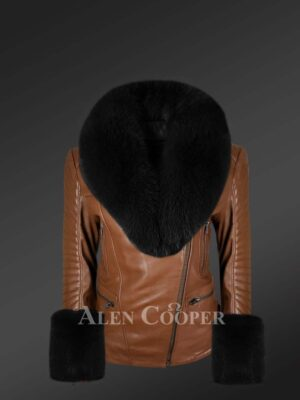 Appealing leather jacket with removable fur collar and hand cuffs