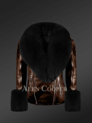 Authentic leather jacket with removable genuine fur collar and handcuffs