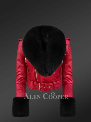 Authentic leather jackets in burgundy with removable fur collar and handcuffs for women