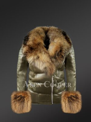 Authentic leather jackets with removable fur collar and handcuffs