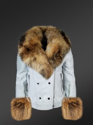 Authentic white leather jacket with removable fur collar and handcuffs