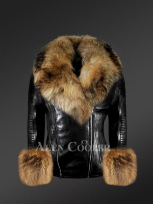 Genuine leather jacket in black with removable fur collar and handcuffs