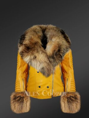 Genuine leather jacket in yellow with removable fur collar and handcuffs
