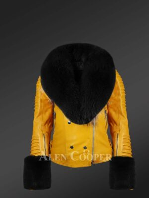 Genuine leather jackets with contrasting fur collar and handcuffs
