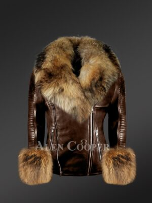 Genuine leather jackets with removable fur collar and handcuffs to redefine your appeal