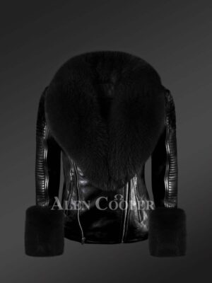 Stylish leather jackets with removable fur collar and hand cuffs