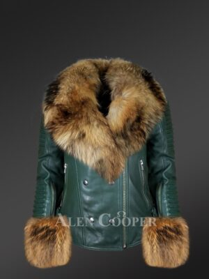 Women's authentic leather jacket with removable raccoon fur collar and handcuffs