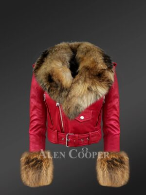 Women's authentic leather jackets in burgundy with removable fur collar and handcuffs