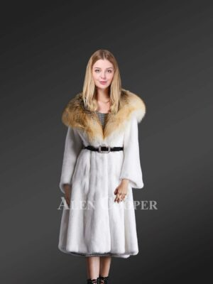 Authentic mink fur coat for women with stylish hood view