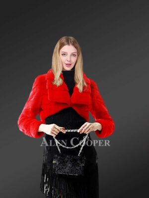 Authentic mink fur coat in red for stylish women