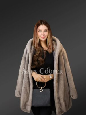Authentic mink fur coats with stylish hood for women