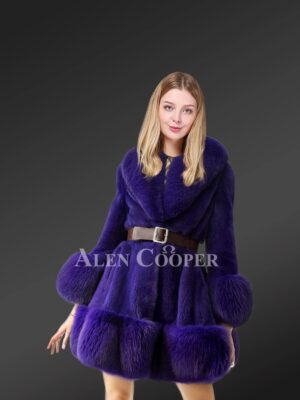 Blue Mink fur coat for stylish womens this winter