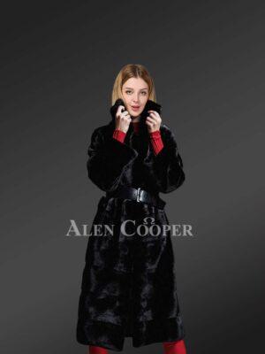 Genuine mink fur long coat in appealing black for stylish women's
