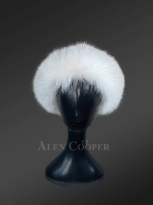 White fox fur headbands for tasteful ladies