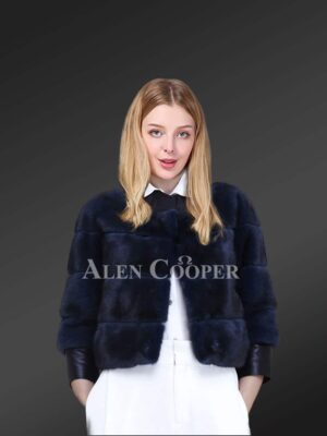 Cropped Mink Fur Jacket with Leather Trim Cuffs
